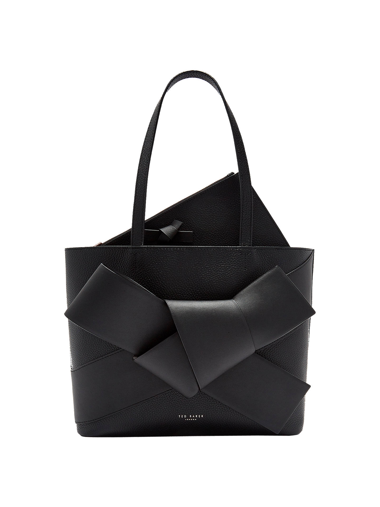 Ted Baker Alliie Leather Giant Bow Per Bag Black Online At Johnlewis