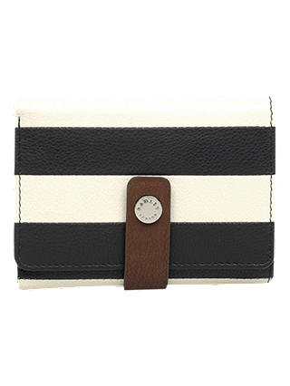Buy Radley Babington Stripe Leather Tri-Fold Purse, Black/White Online at johnlewis.com