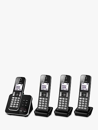 Panasonic KX-TGD624EB Digital Cordless Telephone with Dedicated Nuisance Call Block Button and Answering Machine, Quad DECT