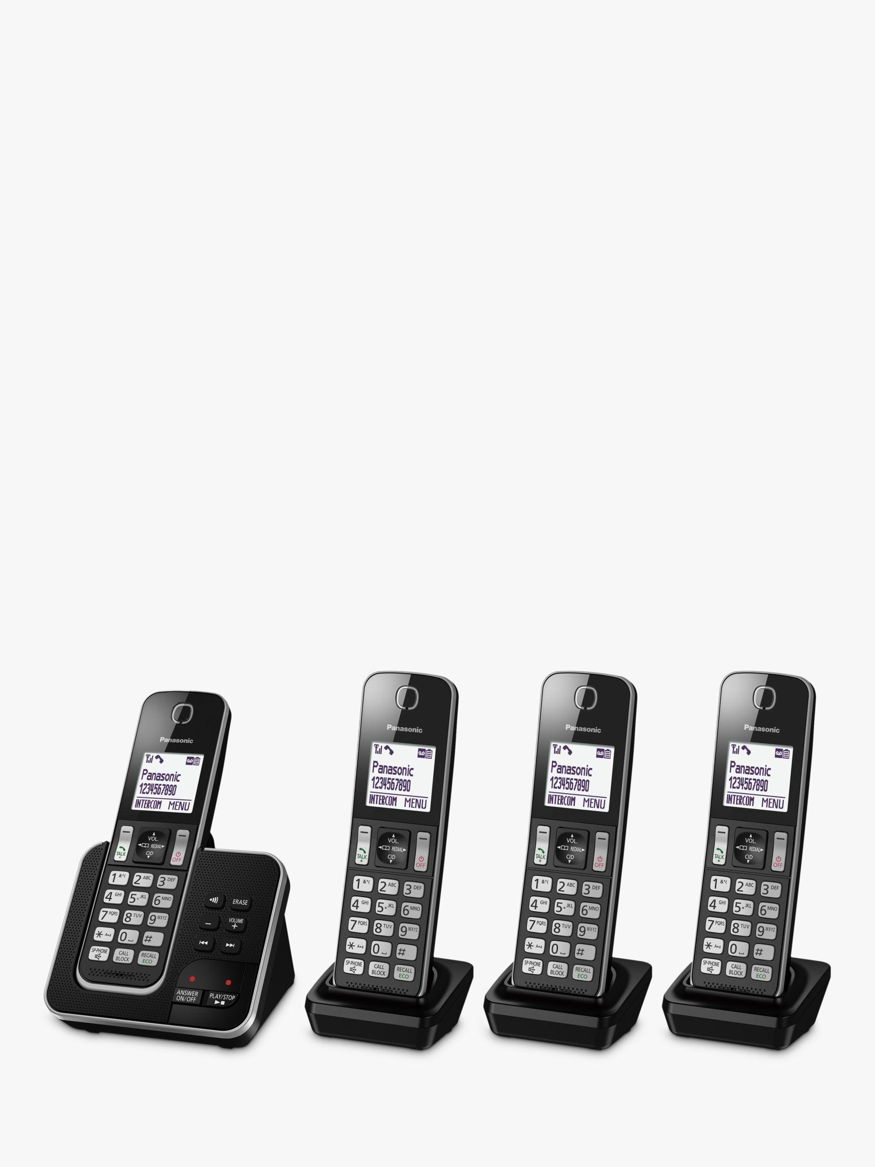 Panasonic Panasonic KX-TGD624EB Digital Cordless Telephone with Dedicated Nuisance Call Block Button and Answering Machine, Quad DECT