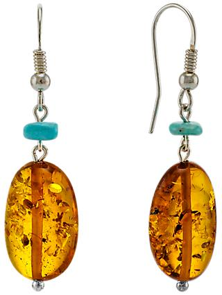 Be-Jewelled Sterling Silver Oval Amber Hook Drop Earrings, Cognac