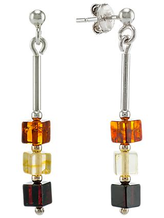 Be-Jewelled Sterling Silver Tricolour Amber Cube Drop Earrings, Multi