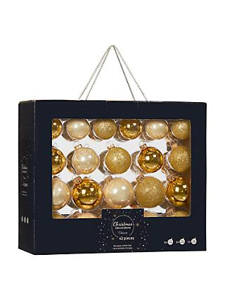 John Lewis Partners Gold Mixed Baubles Box Of 42