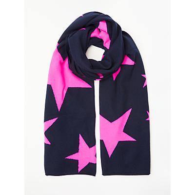Wyse London Neon Stars Cashmere Scarf, Navy/Pink