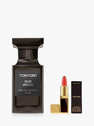 TOM FORD Private Blend Oud Wood Eau De Parfum, 50ml with Deluxe Lip Colour (Bundle)