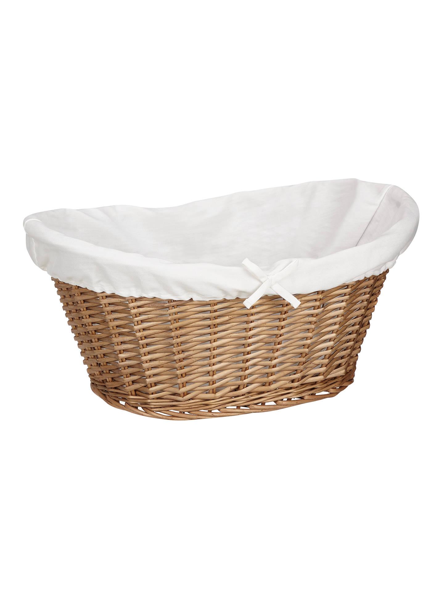 John Lewis Partners Lined Oval Wicker Laundry Basket