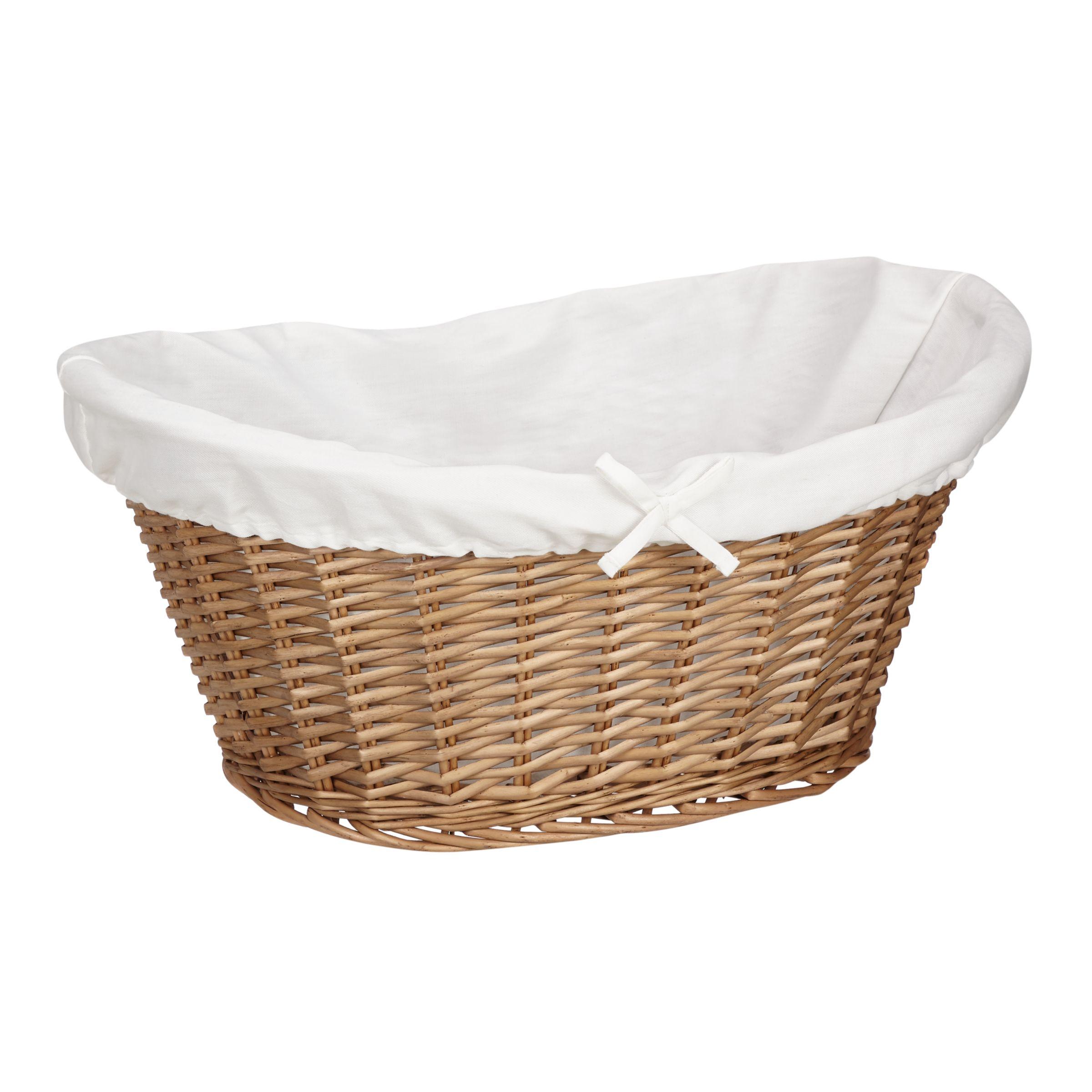 John Lewis & Partners Lined Oval Wicker Laundry Basket