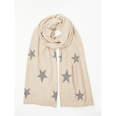 Wyse London Scatter Stars Cashmere Scarf, Natural/Grey