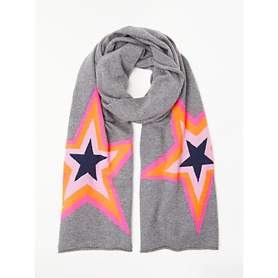 Wyse London Estelle Neon Star Print Scarf, Grey/Multi