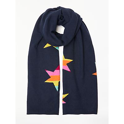 Wyse London Maddy Rainbow Star Print Scarf, Navy/Multi