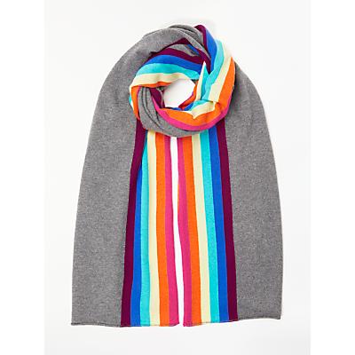 Wyse London Rainbow Stripe Edge Cashmere Scarf, Charcoal/Multi