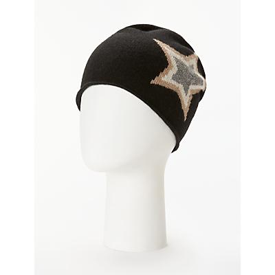 Wyse London Ziggy Star Cashmere Beanie Hat, Black Mix