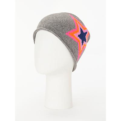 Wyse London Estelle Neon Star Print Beanie Hat, Grey/Multi