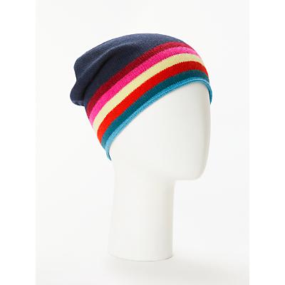 Wyse London Rainbow Stripe Cashmere Beanie Hat, Navy/Multi
