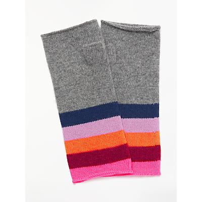 Wyse London Estelle Rainbow Stripe Fingerless Gloves, Grey/Multi