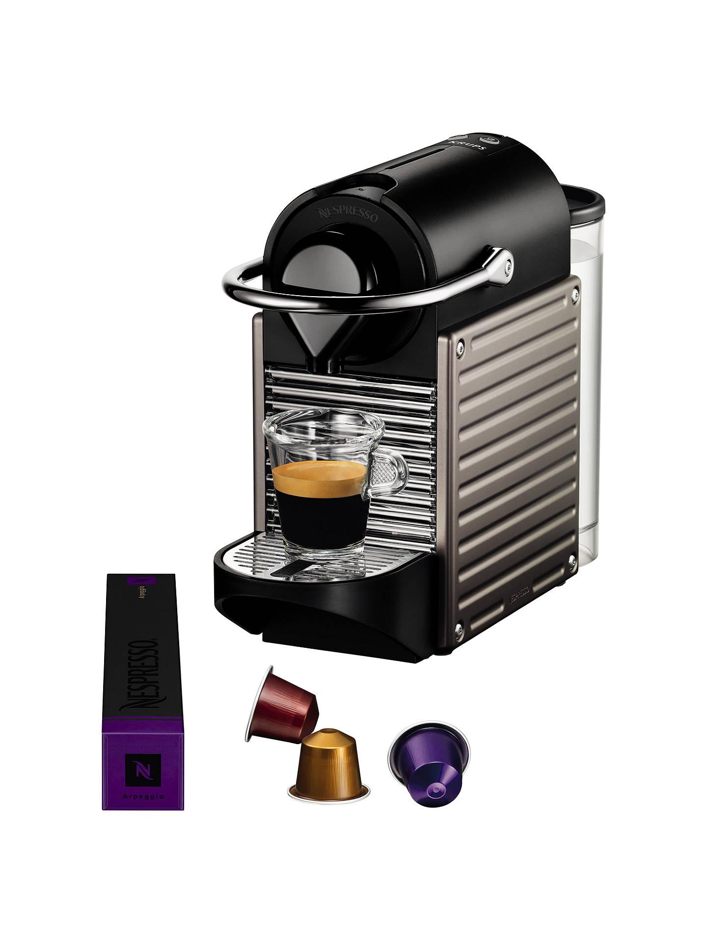 Nespresso Pixie Coffee Machine By Krups Titanium At John Lewis