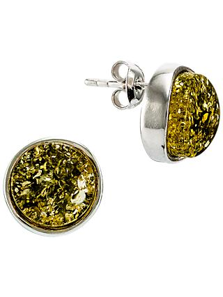Be-Jewelled Sterling Silver Baltic Amber Geometric Modern Wave Stud Earrings, Green