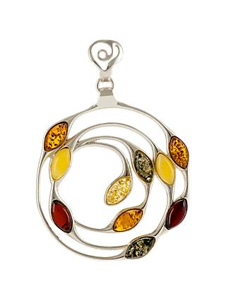 Be-Jewelled Sterling Silver Baltic Amber Medallion Pendant Necklace, Multi