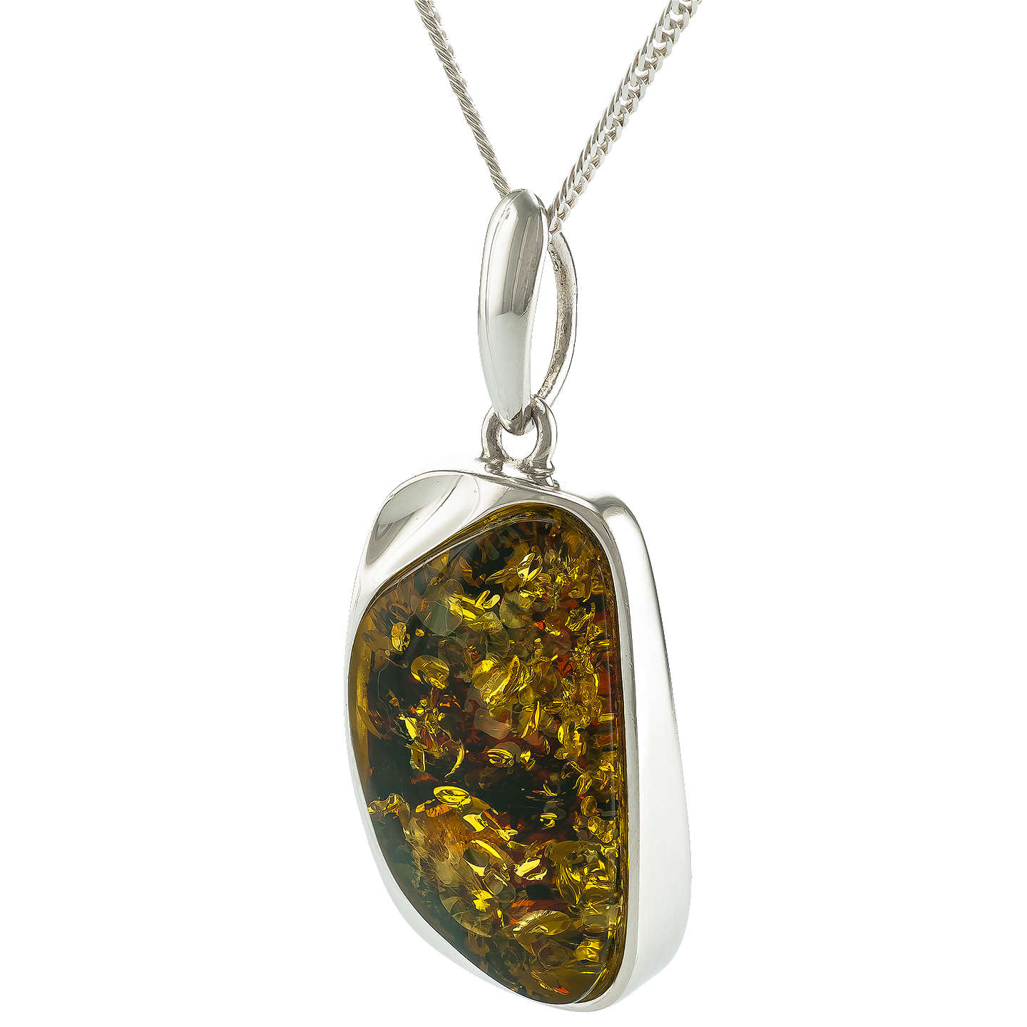 Be jewelled sterling silver cuboid baltic amber pendant necklace buybe jewelled sterling silver cuboid baltic amber pendant necklace green online at johnlewis aloadofball Images
