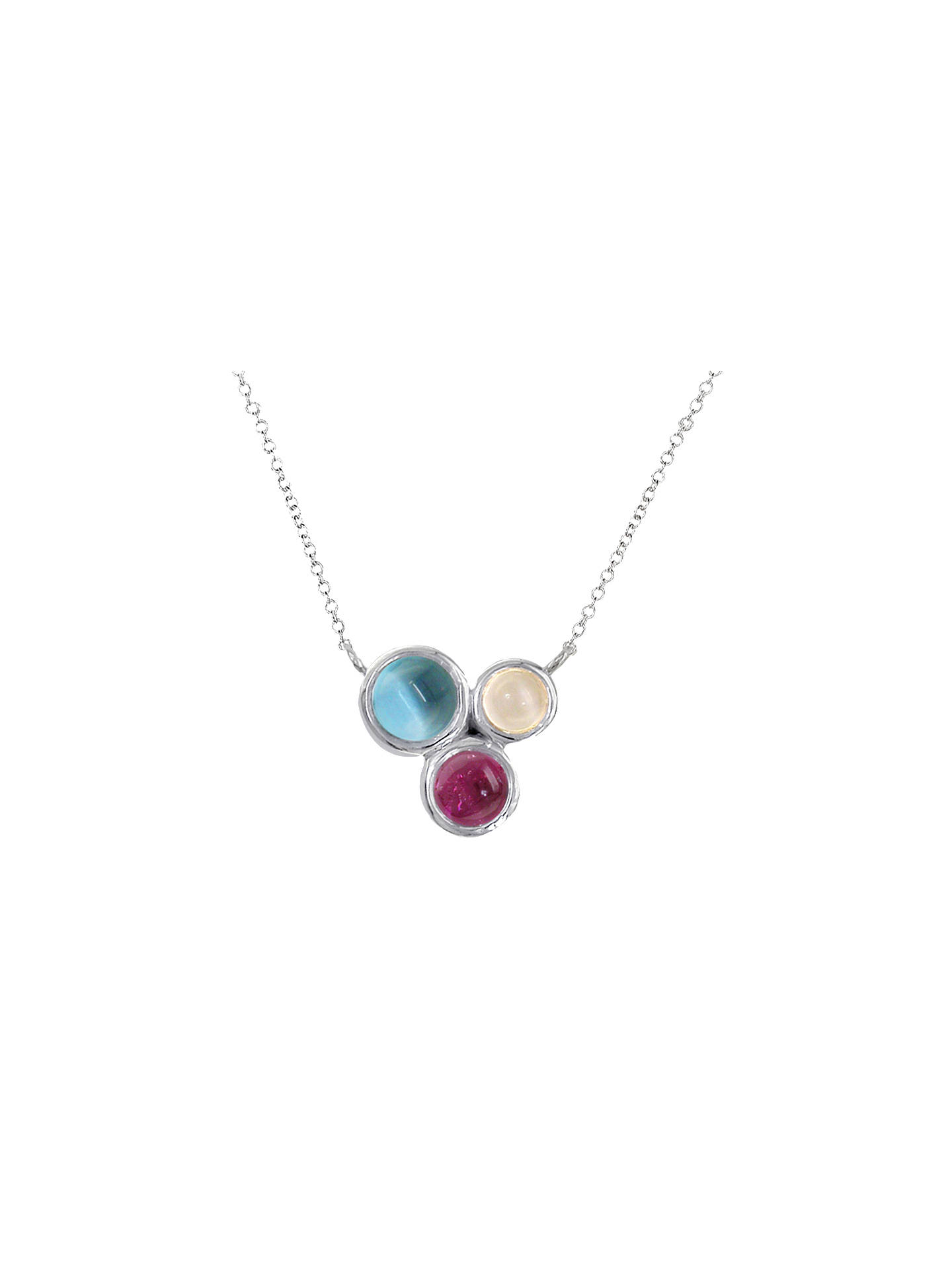 BuyLondon Road 9ct Gold 3 Stone Round Pendant Necklace, White Gold/Multi Online at johnlewis.com