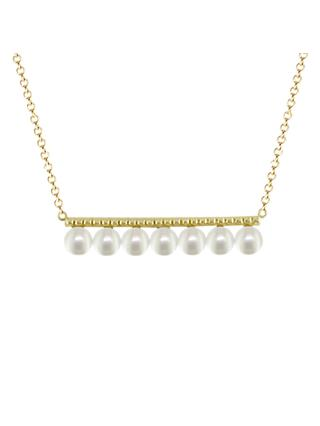 London Road 9ct Gold Pearl Bar Pendant Chain Necklace, Gold
