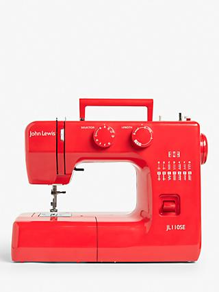 John Lewis & Partners JL110 Sewing Machine, Ruby Red