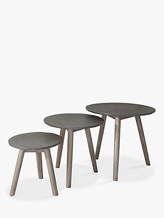 Hudson Living Bergen Nest of 3 Tables, Grey