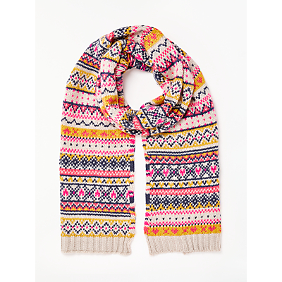 Collection WEEKEND by John Lewis Bright Fairisle Print Scarf, Pink/Multi