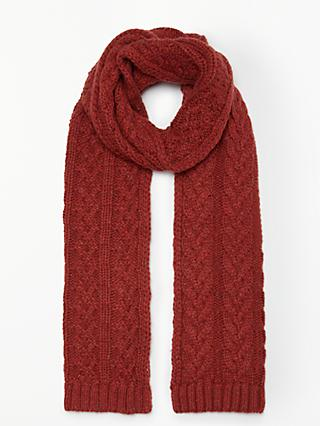 John Lewis & Partners Antler Cable Slub Knit Scarf, Orange Mix
