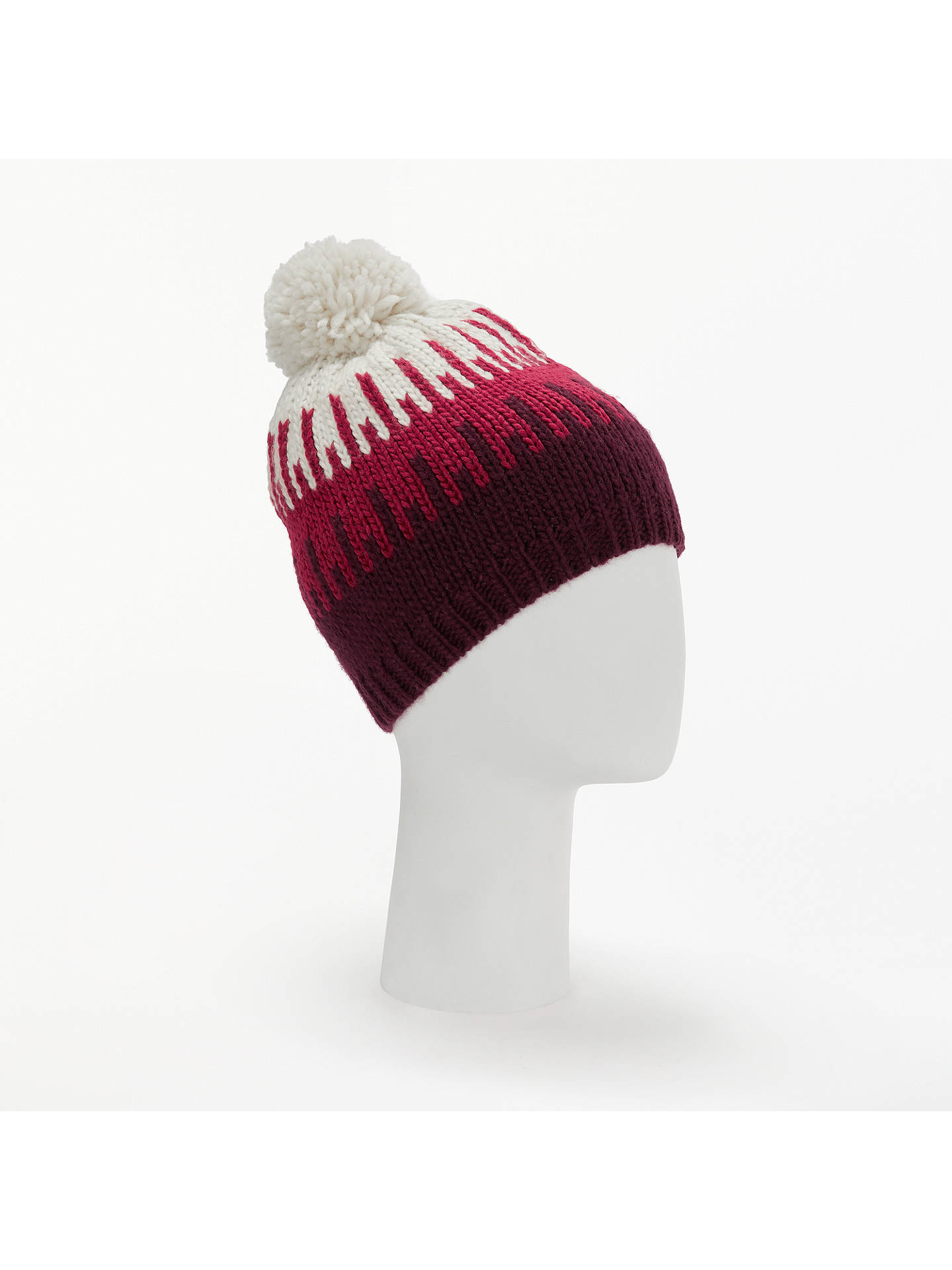 Buy John Lewis & Partners Colour Block Jacquard Beanie Hat, Red Mix Online at johnlewis.com