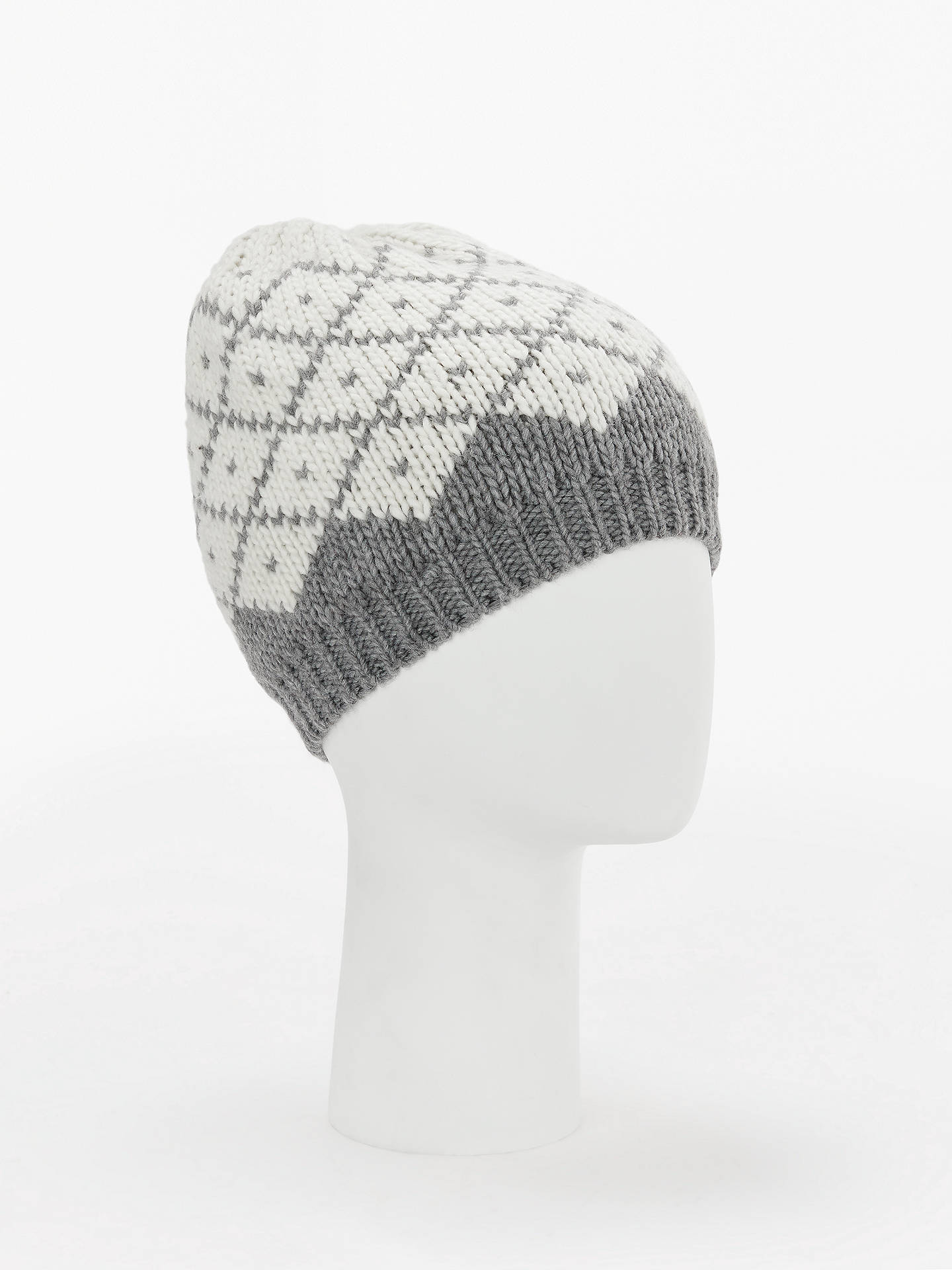 Buy John Lewis & Partners Diamond Chunky Beanie Hat, Grey Mix Online at johnlewis.com