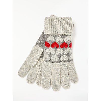Collection WEEKEND by John Lewis Heart Print Gloves, Grey/Multi