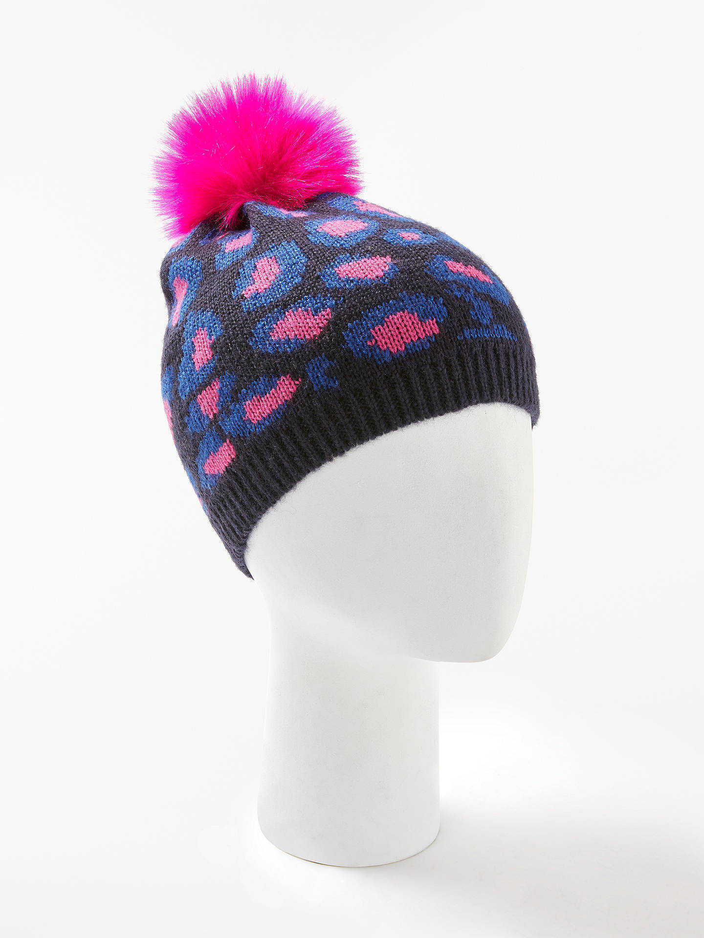 on sale e9dae 72e24 ... Buy Collection WEEKEND by John Lewis Leopard Print Fluffy Pom Beanie Hat,  Navy Multi ...