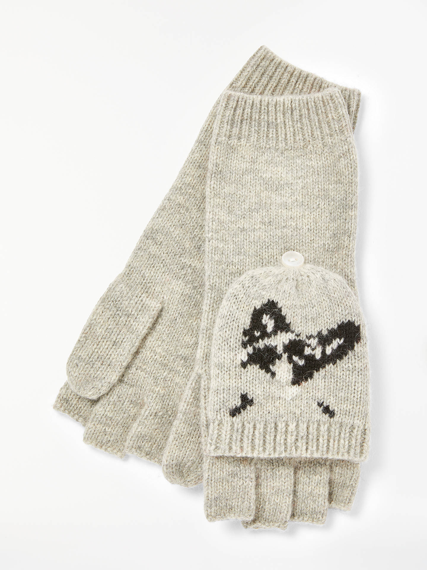 BuyJohn Lewis & Partners French Bulldog Trapper Gloves, Grey/Multi Online at johnlewis.com