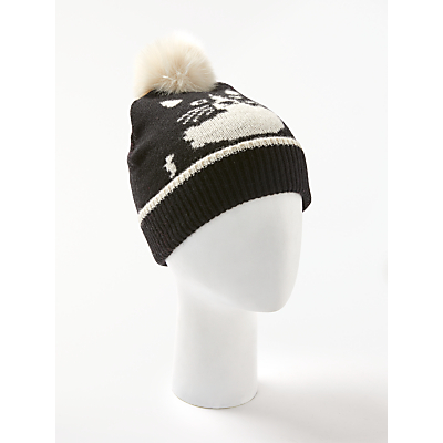 Collection WEEKEND by John Lewis Hidden Cat Pom Beanie Hat, Black/Multi