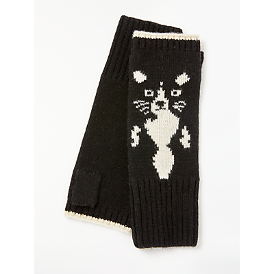 Collection WEEKEND by John Lewis Hidden Cat Fingerless Gloves, Black/Multi