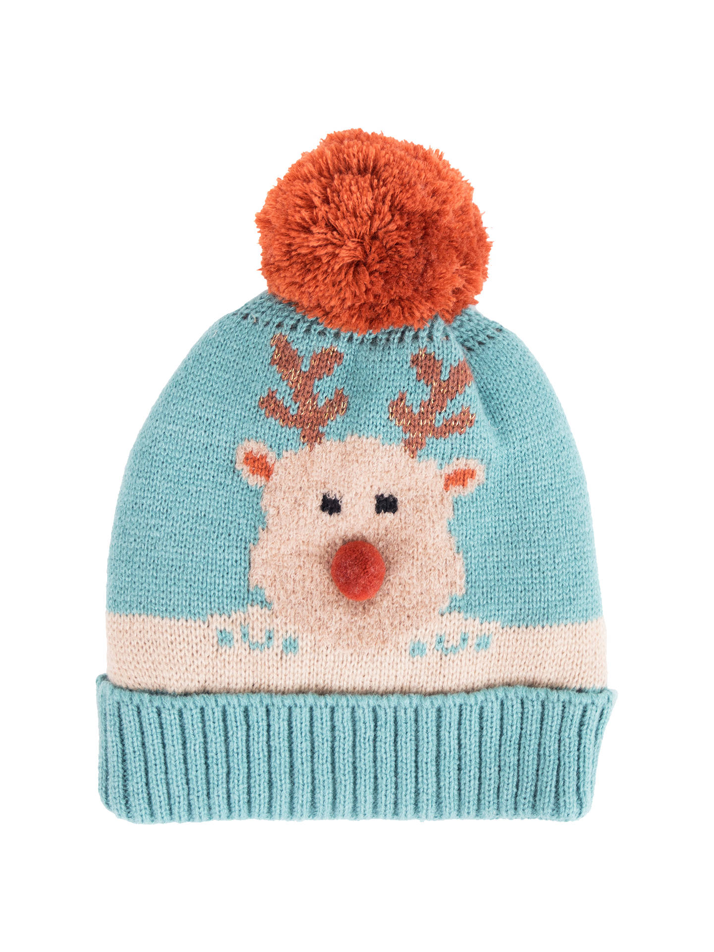 BuyPowder Rudolph Pom Pom Beanie Hat, Ice Online at johnlewis.com