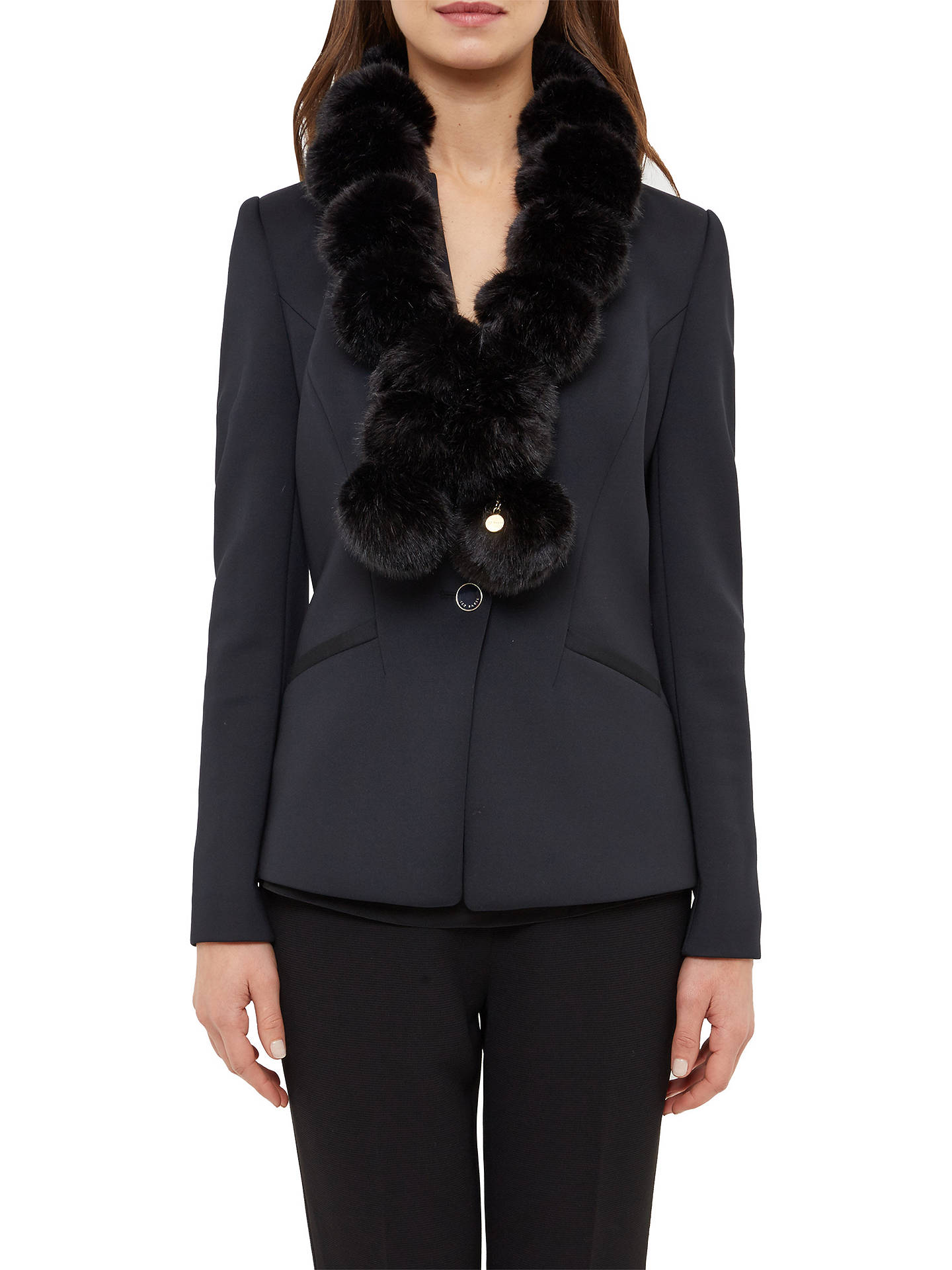 BuyTed Baker Faux Fur Pom Pom Scarf, Black Online at johnlewis.com