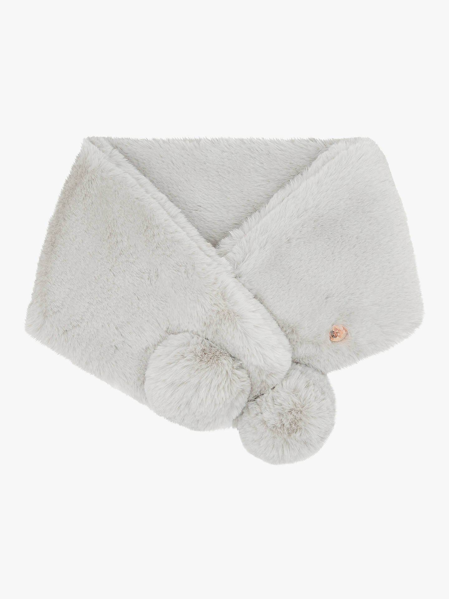 BuyTed Baker Faux Fur Pom Snood, Grey Online at johnlewis.com