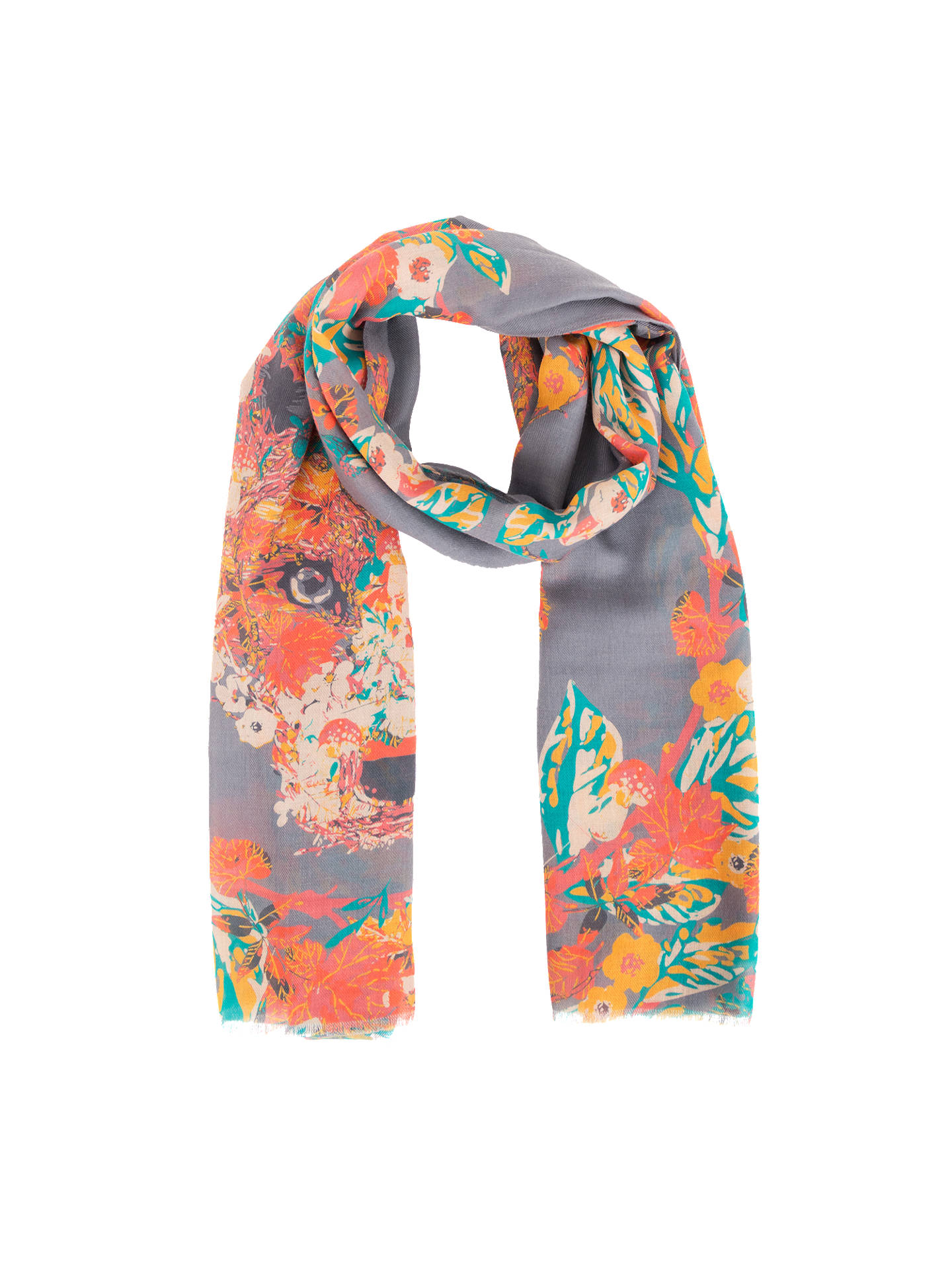 Buy Powder Floral and Fox Print Scarf, Slate/Multi Online at johnlewis.com