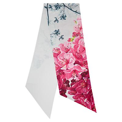 Ted Baker Babylon Skinny Floral Scarf, Grey/Multi