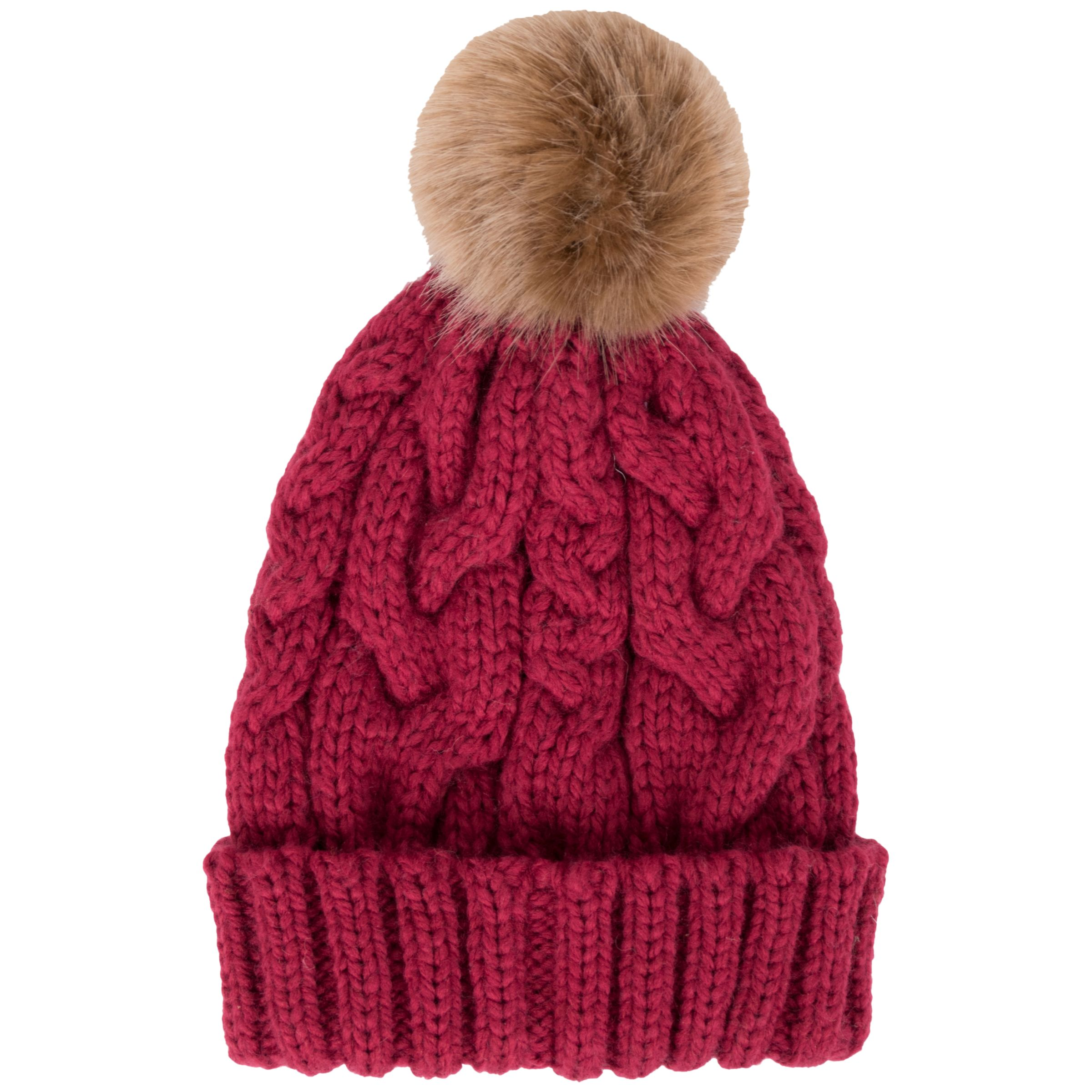 d2c1659e629 Powder Charlotte Cable Knit Faux Fur Pom Pom Beanie Hat at John ...