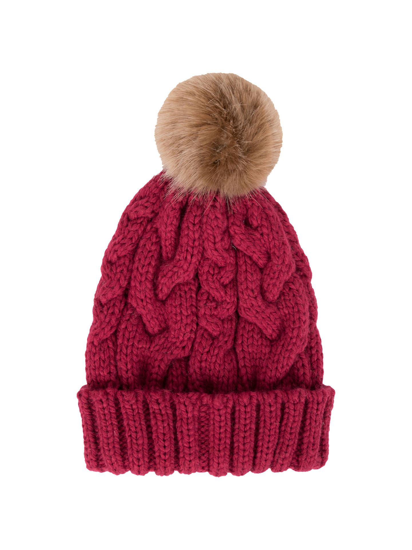 1f810aa0cf275 Powder Charlotte Cable Knit Faux Fur Pom Pom Beanie Hat at John ...