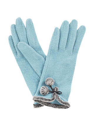 Buy Powder Betty Pom Pom Detail Wool Rich Gloves, Light Blue Online at johnlewis.com