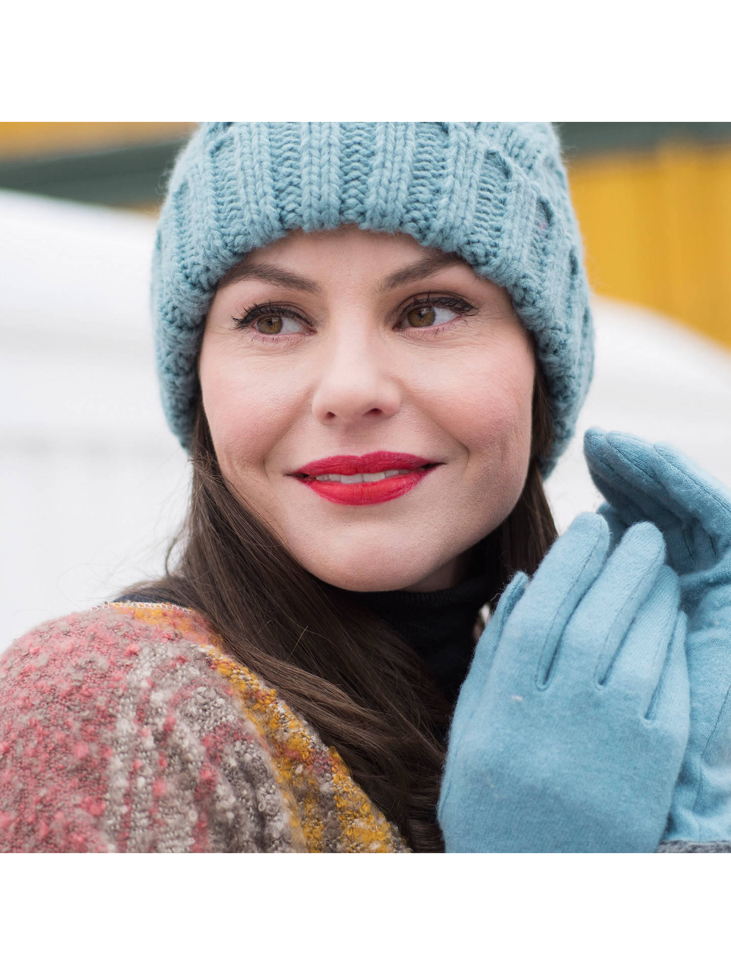 BuyPowder Betty Pom Pom Detail Wool Rich Gloves, Light Blue Online at johnlewis.com