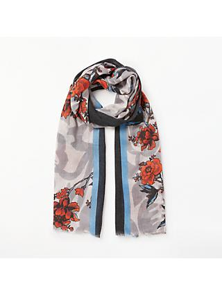 9aec0cf70d2 Unmade Olympe Floral and Stripe Cotton Scarf