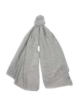 Barbour Plain Boucle Scarf, Light Grey