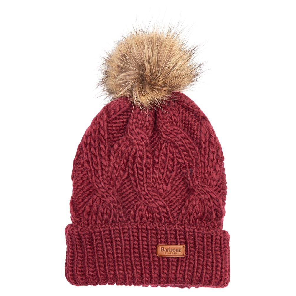 fafe993a Barbour Ashridge Cable Knit Faux Fur Pom Pom Beanie Hat at John Lewis &  Partners