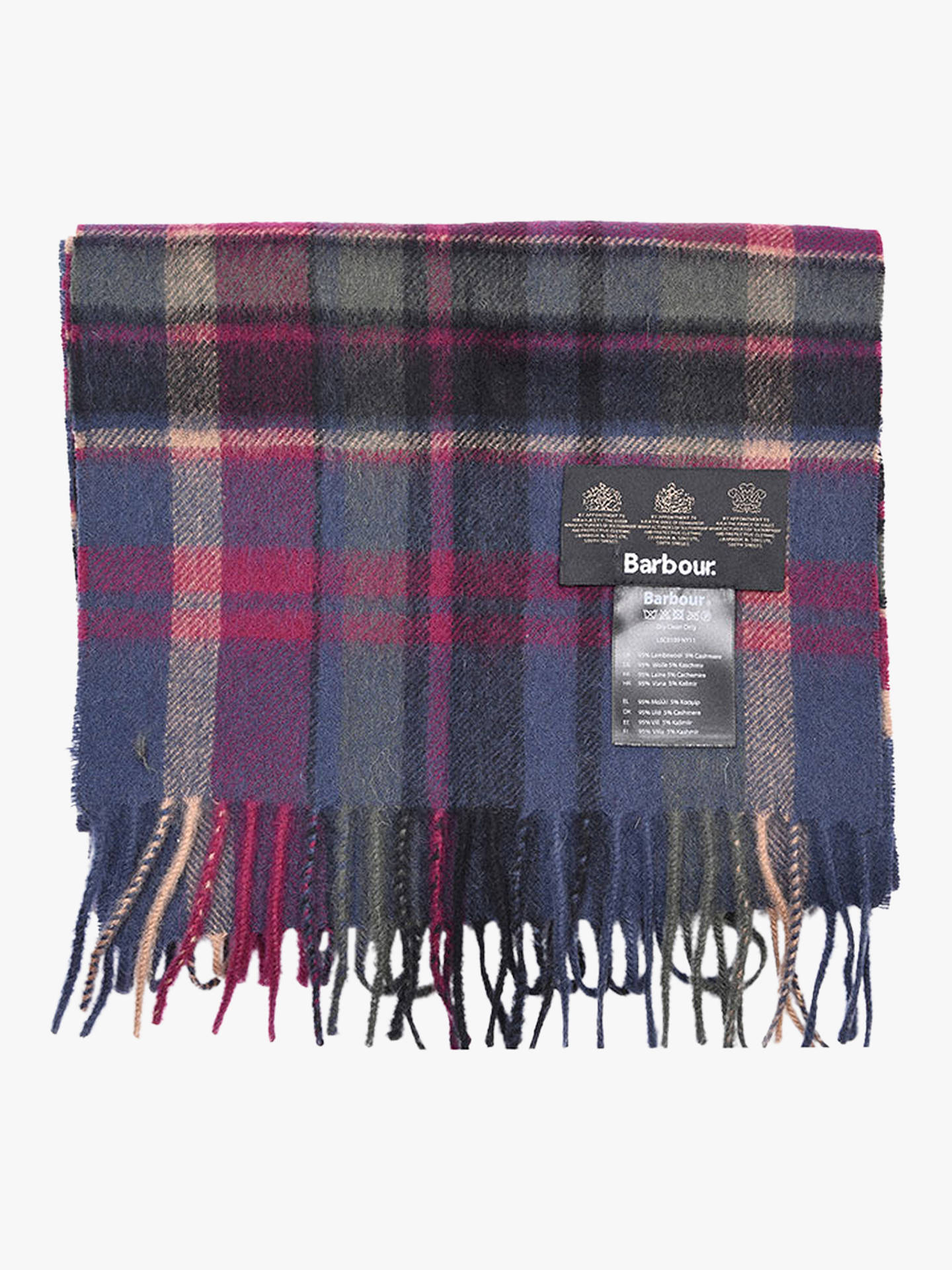 Buy Barbour Vintage Plaid Scarf, Navy/Multi Online at johnlewis.com