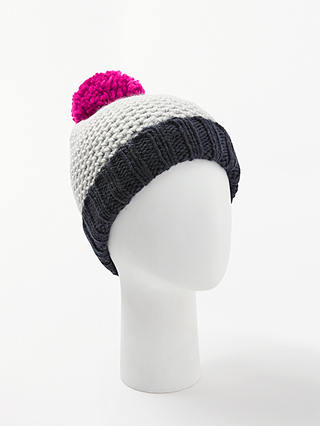 Buy John Lewis & Partners Chunky Lovely Colour Block Beanie Hat, Navy Mix Online at johnlewis.com